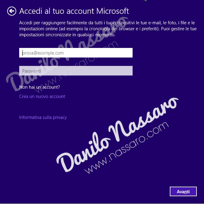 Windows 10 - Crea un account locale