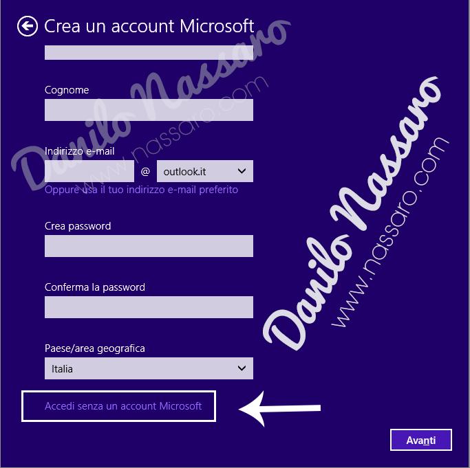 Windows 10 ' Crea un nuovo account