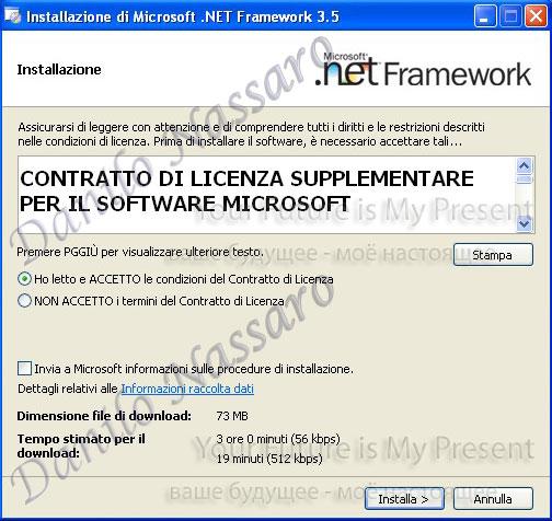 Installazione .net 3.5: accettazione licenza
