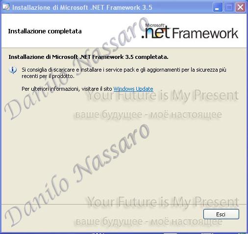Installazione .net 3.5: installazione completata