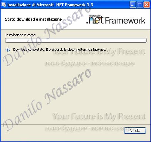 Installazione .net 3.5: installazione in corso