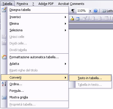 Word 2003: Converti testo in tabella