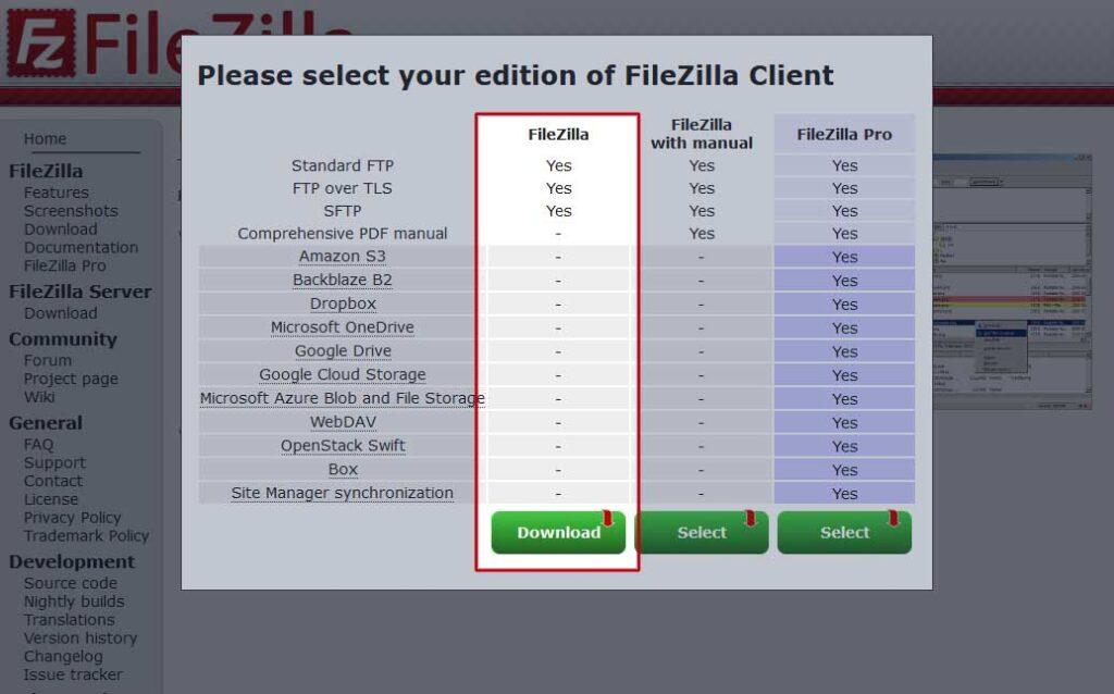 FileZilla: Selezione versione