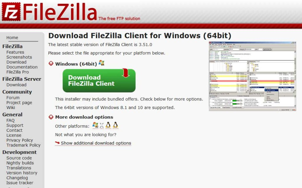 Pagina Download FileZilla