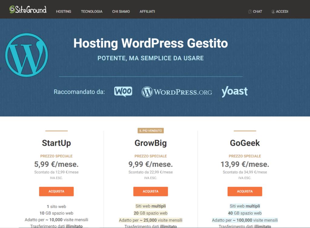 Registrazione sito WordPress con SiteGround. Passo 1: scegli il piano