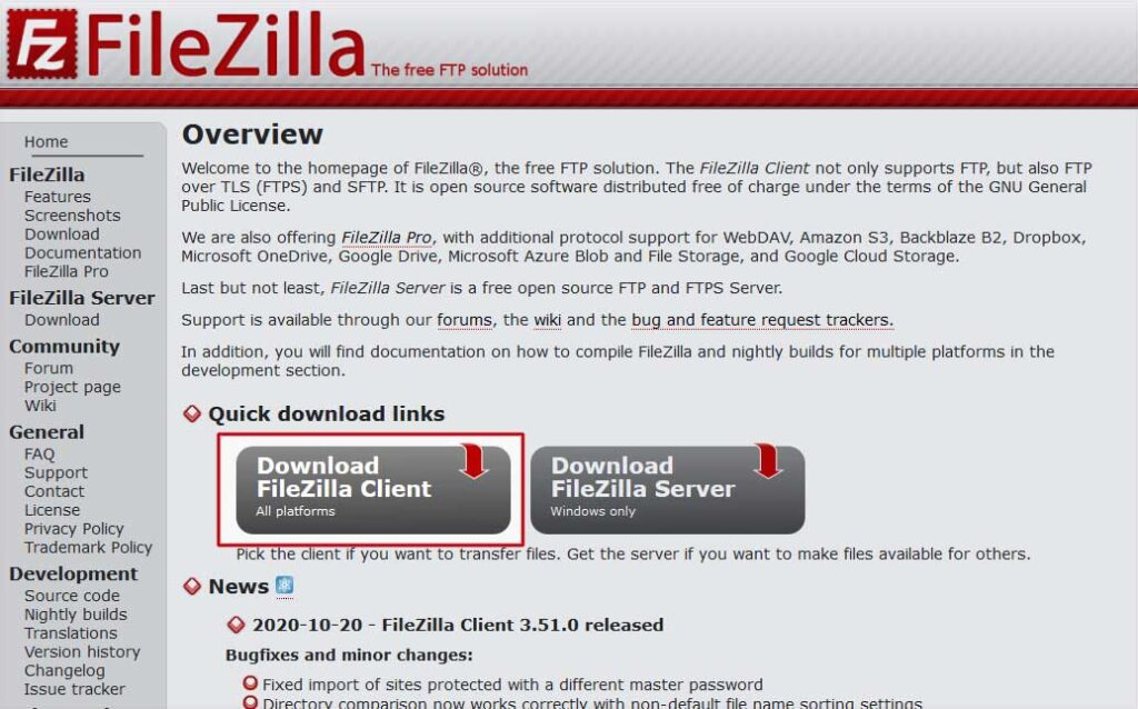 Home Page di Filezilla