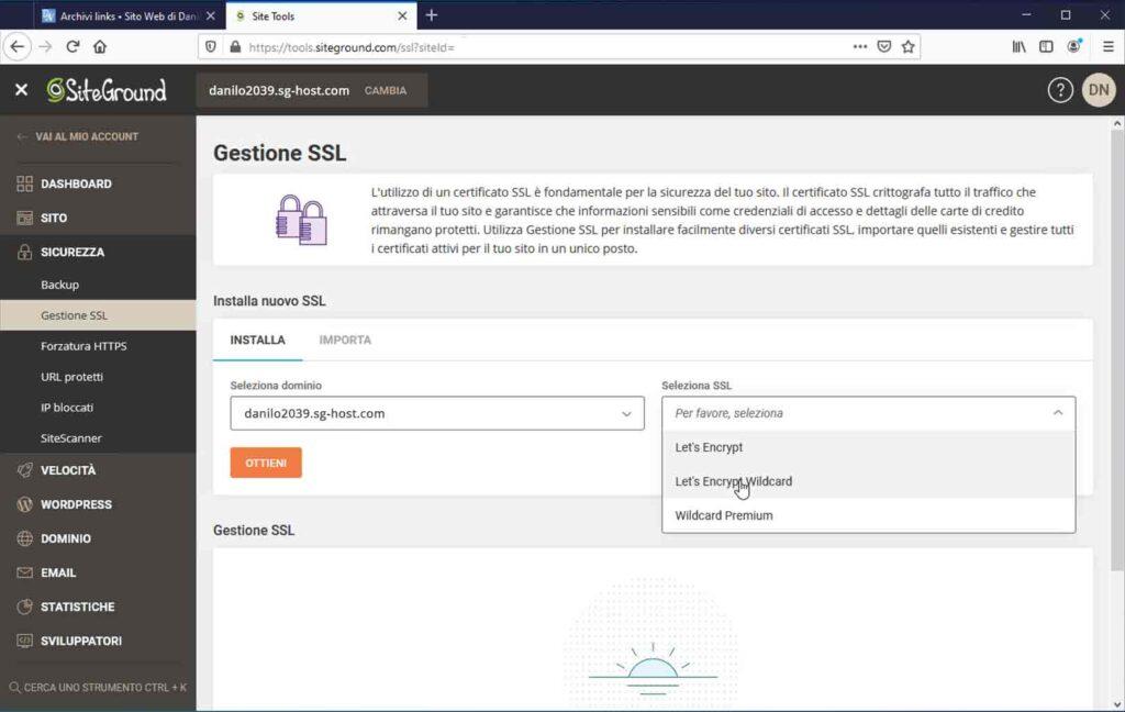 Gestione SSL - SiteGround Site Tools