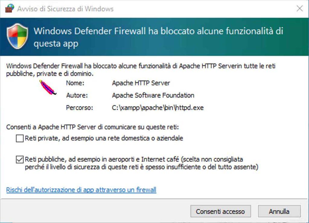 Windows Defender Firewall: permettere al server web Apache di ricevere connessioni di rete