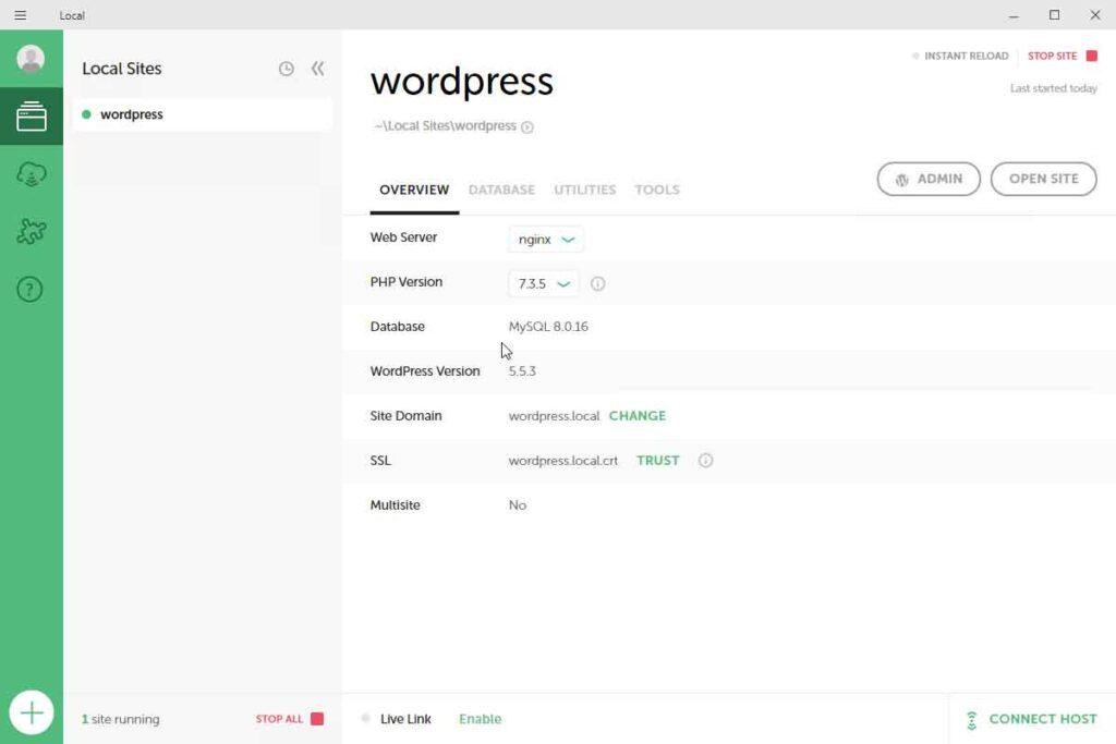 Sito WordPress locale installato