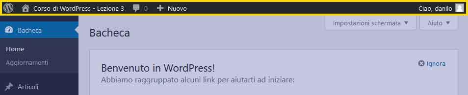 Toolbar di WordPress / Top Bar
