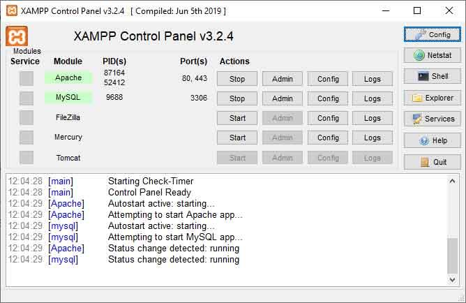 XAMPP pronto per l'installazione locale di WordPress