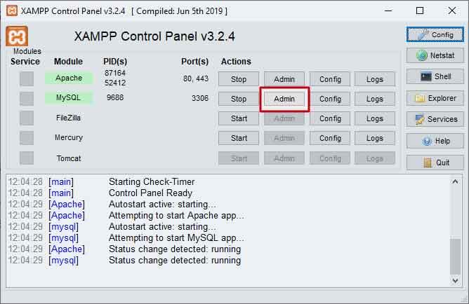 Aprire phpMyAdmin dal pannello di controllo di XAMPP
