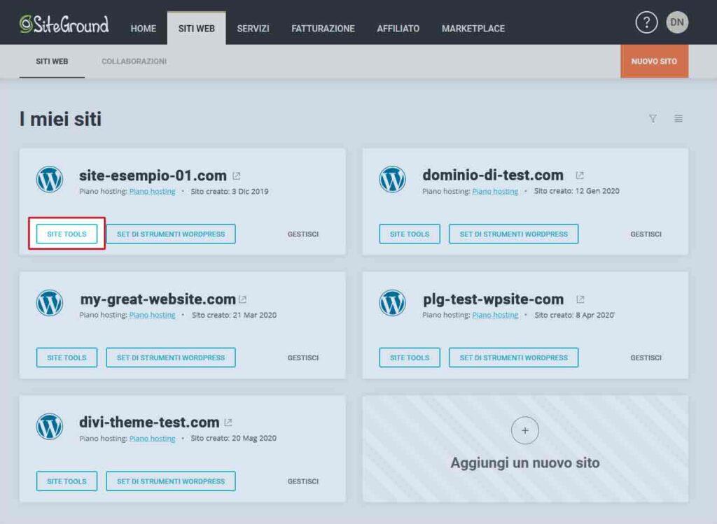 Aprire site tools in SiteGround