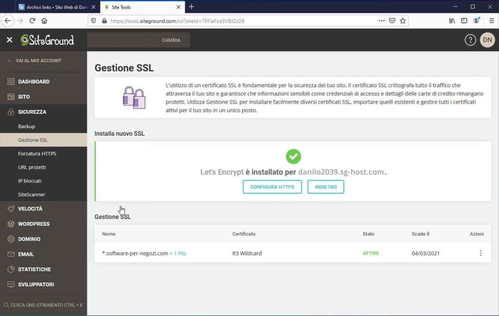 Il certificato è stato correttamente installato. SiteGround