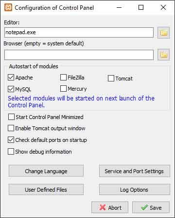 XAMPP: opzioni di configurazione del pannello di controllo