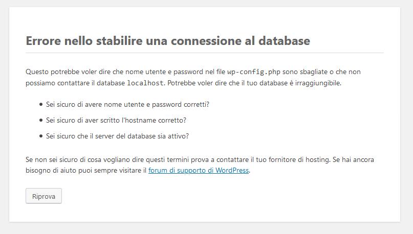 Installazione di WordPress: errore di connessione al database