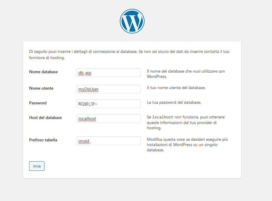 Procedura guidata di installazione di WordPress: informazioni connessione database