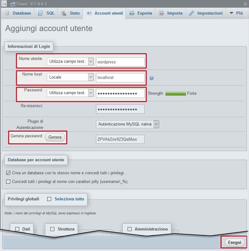 Creazione di database e utente per installare WordPress su XAMPP