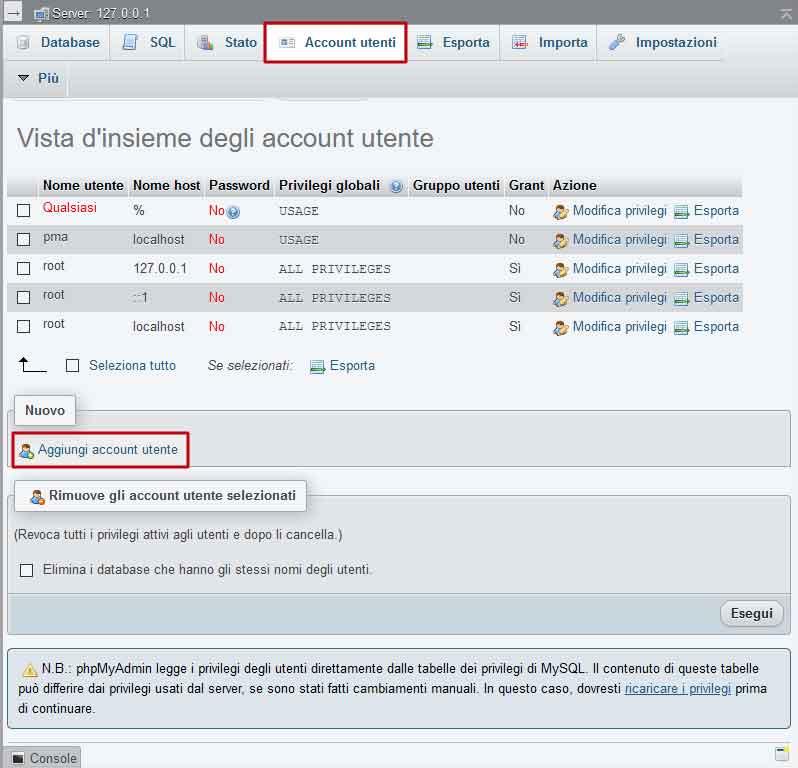 phpMyAdmin: gestione utenti