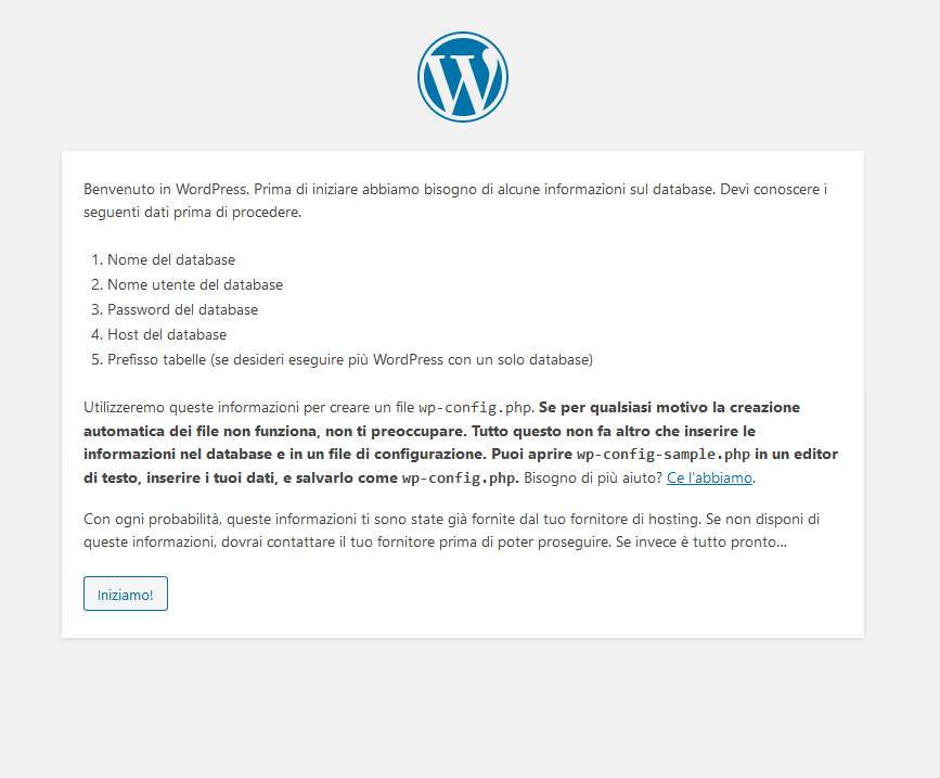 Inizio procedura guidata di installazione di WordPress