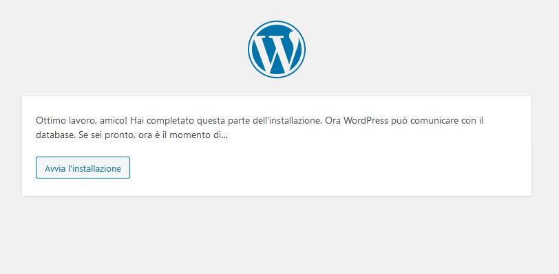 Inizio dell'installazione di WordPress