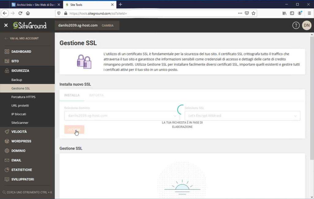 SiteGround: Richiesta certificato SSL gratuito Let's Encrypt in corso