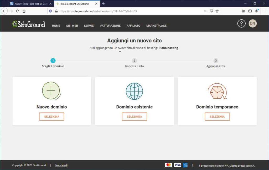 Nuovo sito su SiteGround: Scegli il dominio