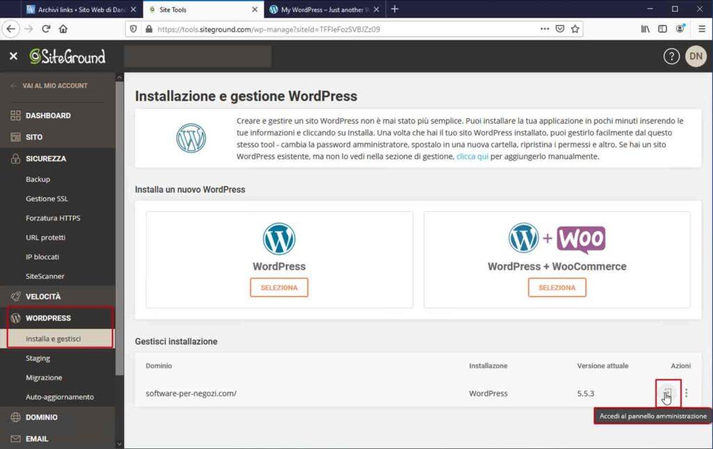 SiteGround: Esegui la login come amministratore dalla pagina dei Site Tools