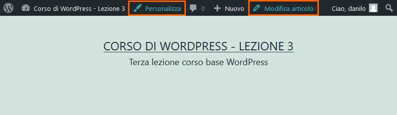 Toolbar di WordPress: lato pubblico (front-end)