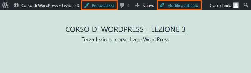 Toolbar di WordPress: lato pubblico (front-end)
