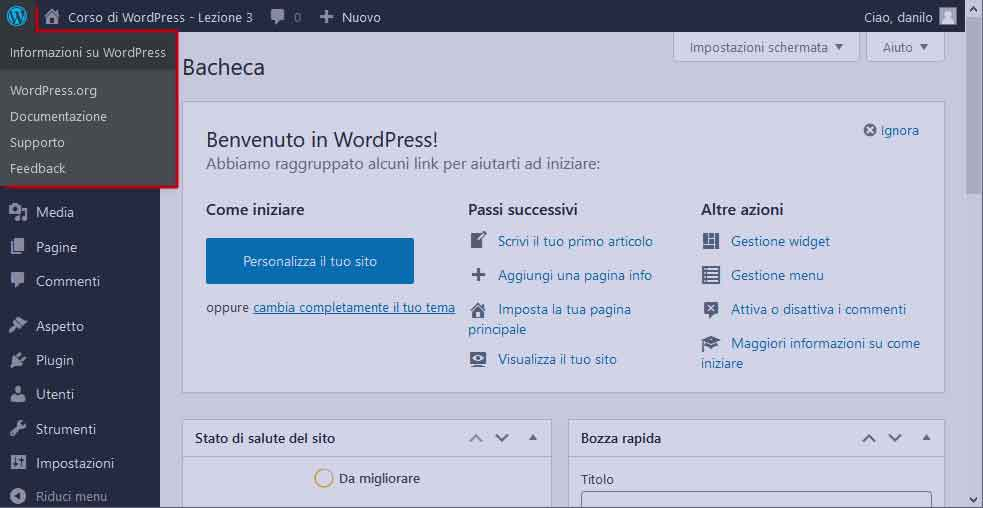 Toolbar di WordPress: logo di WordPress