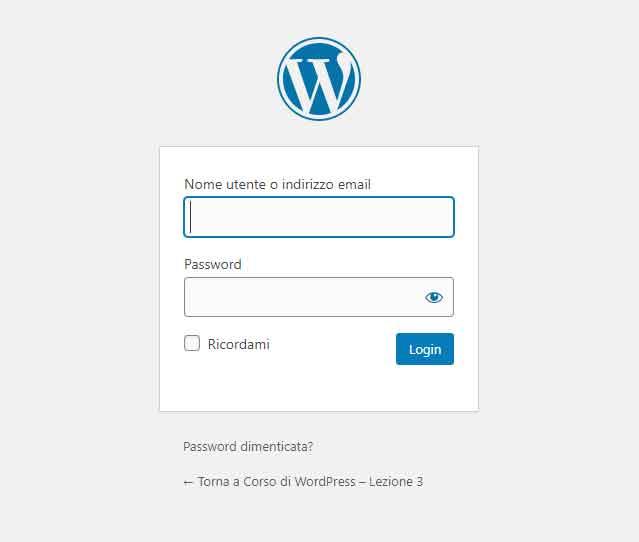 WordPress: login all'area di amministrazione