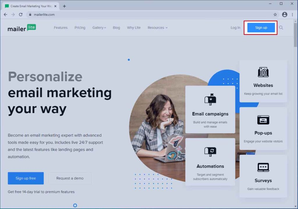 MailerLite Home Page