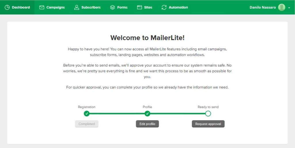 MailerLite: richiesta di approvazione
